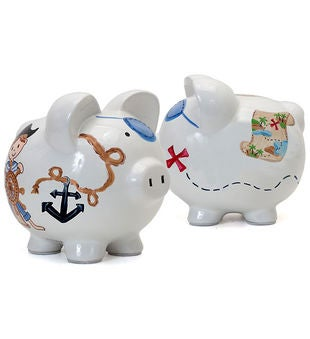 Personalized Hand-Painted Pirate Piggy Bank