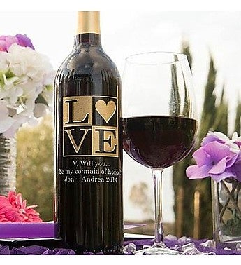 Personalized Love Frame Wine Bottle