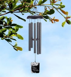 I Am Near Tree Design Pewter Wind Chime