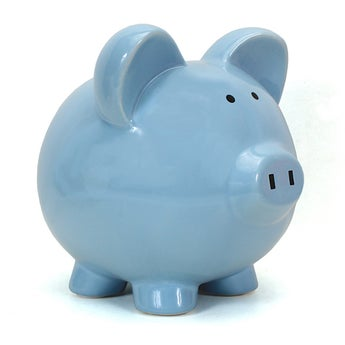 Personalized Hand-Painted Big Ear Piggy Bank - Blue