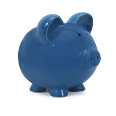 Personalized Hand-Painted Big Ear Piggy Bank - Dark Blue