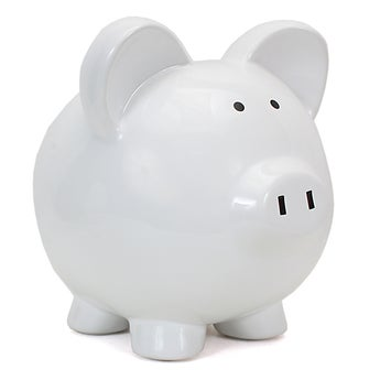 Personalized Large White Piggy Bank