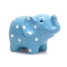 Personalized Hand-Painted Blue Polka Dot Elephant Bank