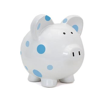 Personalized Hand-Painted Blue Polka Dot Piggy Bank