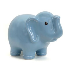 Personalized Hand-Painted Blue Stitched Elephant Bank