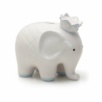 Personalized Hand-Painted Coco Elephant Bank - Blue