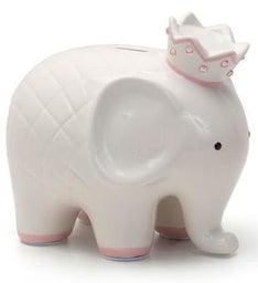 Personalized Hand-Painted Coco Elephant Bank - Pink