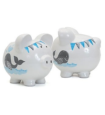 Personalized Hand-Painted Double Whale Piggy Bank