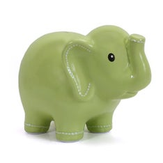 Personalized Hand-Painted Green Stitched Elephant Bank