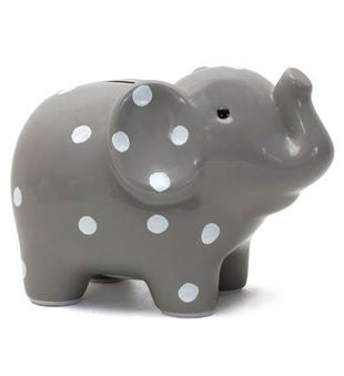 Personalized Hand-Painted Grey Polka Dot Elephant Bank