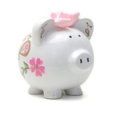 Personalized Hand-Painted I Love Paisley Piggy Bank