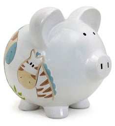 PERSONALIZED HAND-PAINTED JUNGLE JACK PIGGY BANK