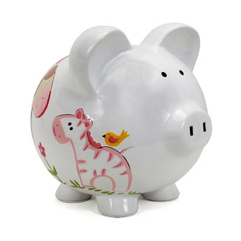 Personalized Hand-Painted Jungle Jill Piggy Bank