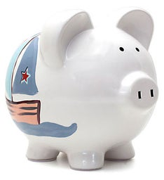 Personalized Hand-Painted Nautical Piggy Bank