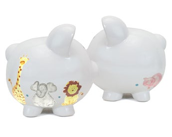 Personalized Sweet Safari Hand-Painted Piggy Bank