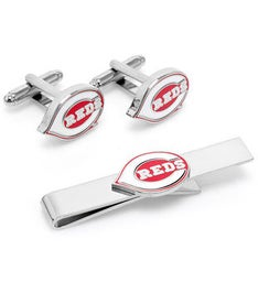 Cincinnati Reds Cufflinks and Tie Bar Gift Set