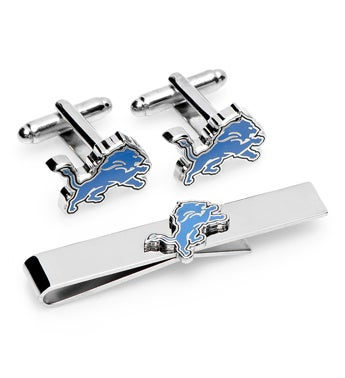 Detroit Lions Cufflinks and Tie Bar Gift Set