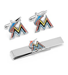 Miami Marlins Cufflinks and Tie Bar Gift Set