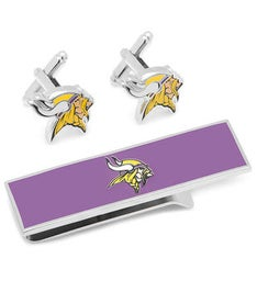 Minnesota Vikings Cufflinks and Money Clip Gift Set