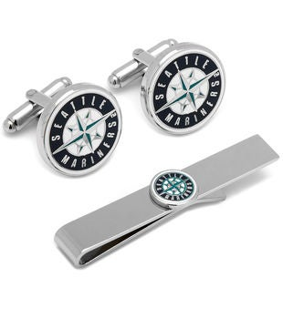 Seattle Mariners Cufflinks and Tie Bar Gift Set
