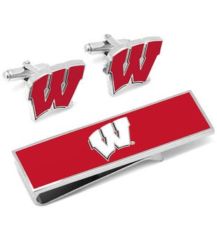 U of Wisconsin Badgers Cufflinks and Money Clip Gift Set