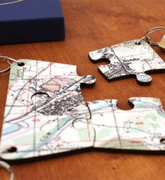 Personalized Map Key Rings Set of 4