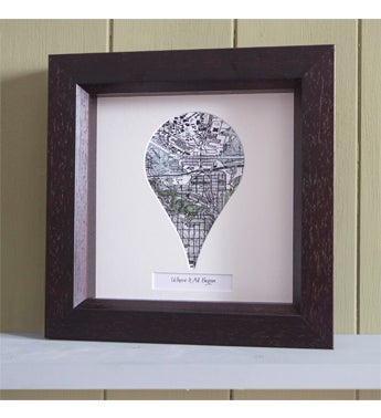 Personalized Pin Shaped Framed USGS Map - White