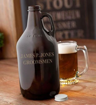 Amber Engraved Beer Growler