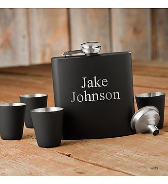 Custom Matte Black Flask & Shot Glass Gift Set