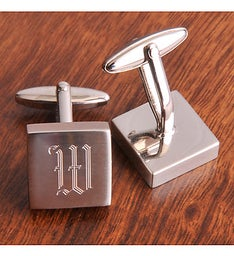 Personalized Initial Silver Cufflinks