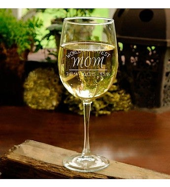 World's Greatest Mom Personalized Wine Glass