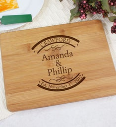 Engraved Couples Bamboo Cheese Board