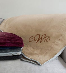 Embroidered Monogram Sherpa Blanket