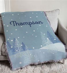 Personalized Winter Forest Throw Blanket