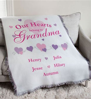 Our Hearts Belong To... Personalized Throw Blanket