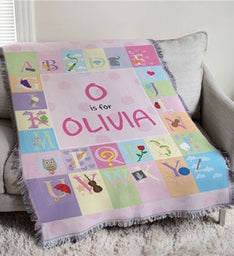 Embroidered Alphabet Throw for Baby Girl