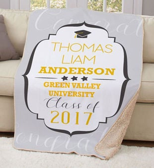 Personalized Graduation Year Sherpa Throw Blanket