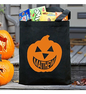 Happy Pumpkin Personalized Canvas Trick or Treat Bag