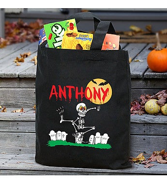 Dancin' Skeleton Personalized Trick or Treat Bag
