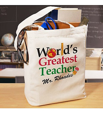 World's Greatest Personalized Teacher Canvas Tote Bag