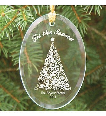 Personalized Tree Oval Glass Ornament