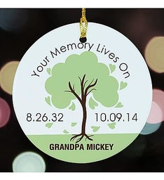 MEMORY LIVES ON PERSONALIZED ORNAMENT