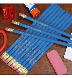 Personalized Blue School Pencils