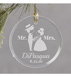 ENGRAVED WEDDING GLASS ORNAMENT