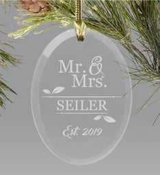 ENGRAVED MR  MRS OVAL GLASS ORNAMENT
