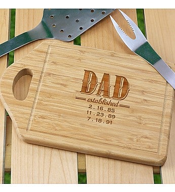 "Engraved ""Dad Established"" Bamboo Cutting Board"