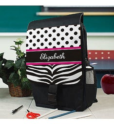 Personalized Zebra Print Backpack