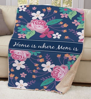 Personalized Mom Sherpa Throw Blanket