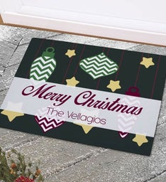 Personalized Merry Christmas Ornament Doormat