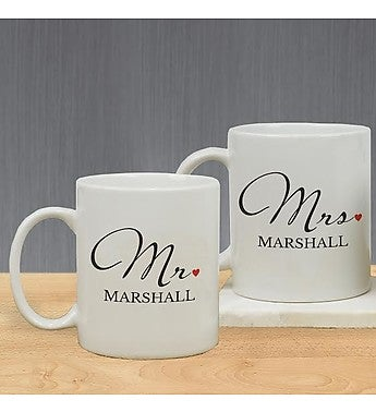 Mr. And Mrs. Personalized Mug Set